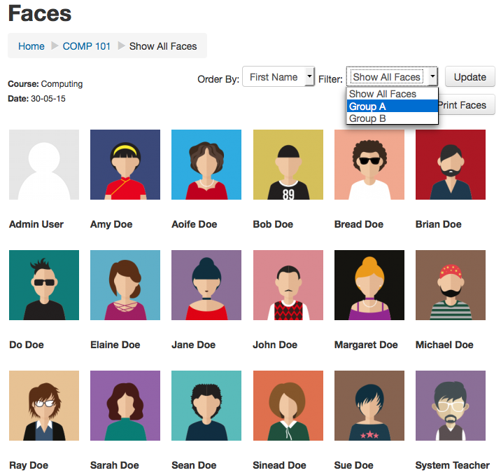 Faces Block screenshot